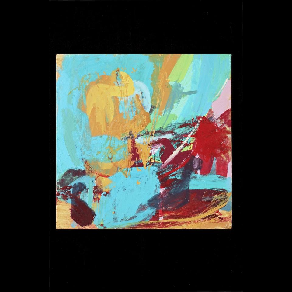 """Upstream W#14, Oil paint on wood, 12"""" x 12"""""""